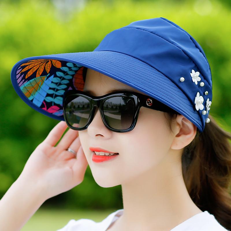 户外休闲遮脸防夏天出游防晒遮阳帽叠百搭紫外线太阳帽帽子