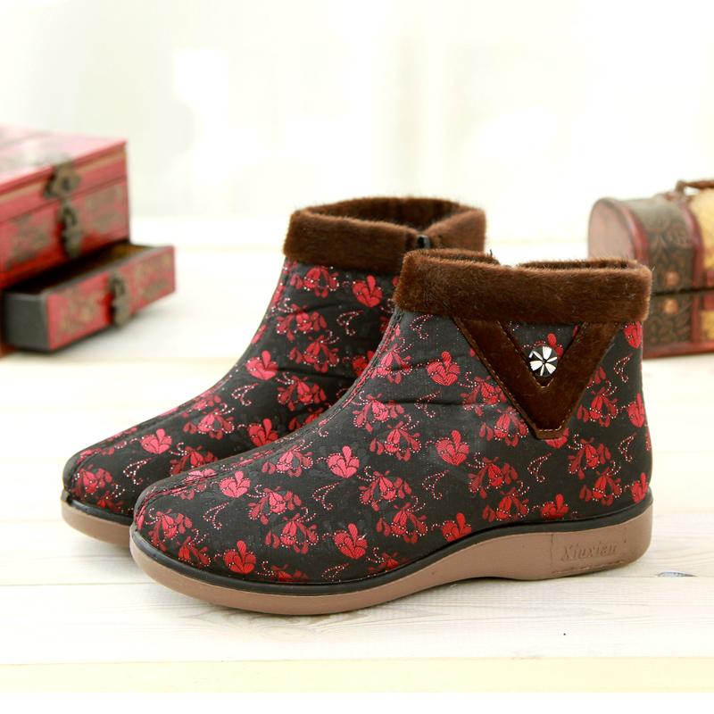 京特布鞋女妈妈棉鞋冬季新款保暖棉鞋平底防滑长毛绒中老年棉靴子