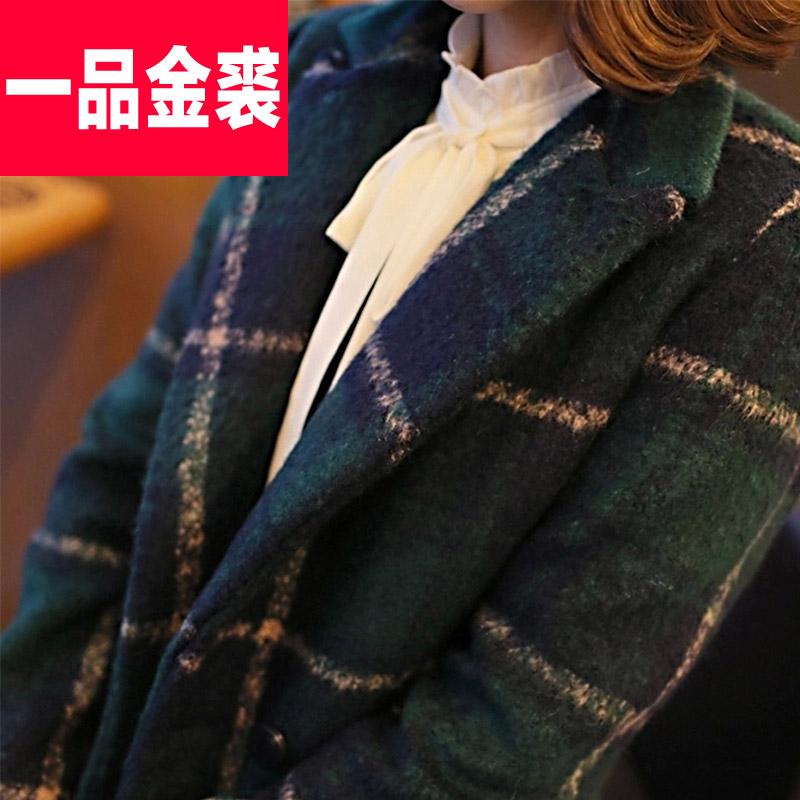 2014冬装新款韩版女宽松大码绿色格子毛呢外套女加厚呢子大衣外套