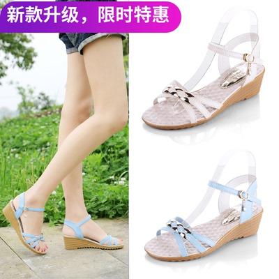 坡跟女鞋2017夏季新款韩版中跟厚底平底鱼嘴百搭一字扣女士凉鞋潮