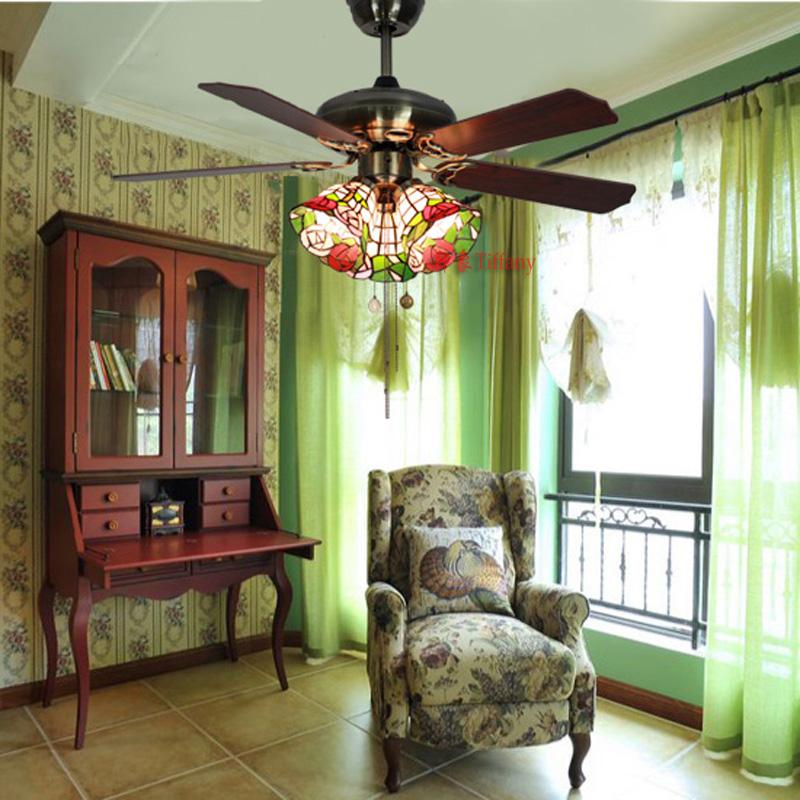 灯饰欧式田园创意时尚客厅餐厅卧室茶楼铁艺灯具彩色玻璃风扇灯