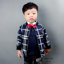 2014秋冬新款韩版夹克时尚童装男童休闲长袖加厚上衣儿童加绒外套