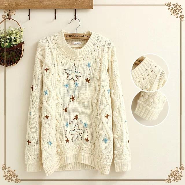春新款镂空海星麻花刺绣套头毛衣 小清新森系针织球球毛衣雨
