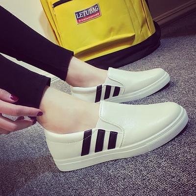 [16年新款] 2016新款乐福鞋女单鞋小白鞋一脚蹬懒人鞋 皮面平底韩版休闲板鞋