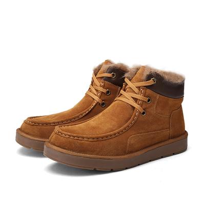 古莱德男士高帮鞋商务休闲鞋冬季磨砂真皮加绒雪地靴时尚潮流男鞋
