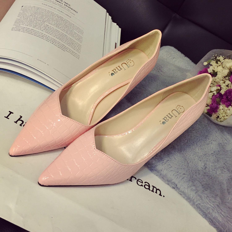 2015年春款欧美超高跟鞋浅口鳄鱼纹单鞋女鞋细跟鞋OL鞋尖头鞋