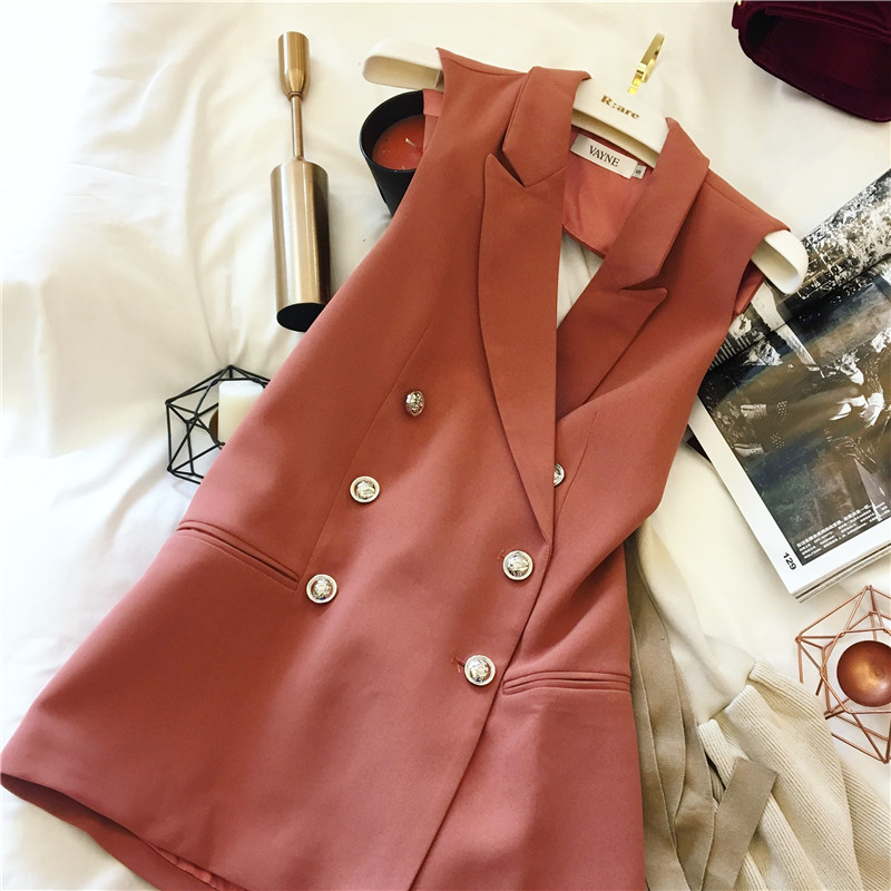 MS/蜜丝 2017春季新款女装OL双排扣露背无袖西装外套马甲女中长款