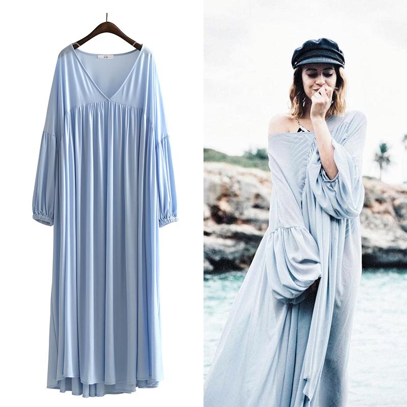 度假沙滩裙泡泡袖抽褶拖地宽松大码连衣裙超大裙摆V领仙女裙夏季
