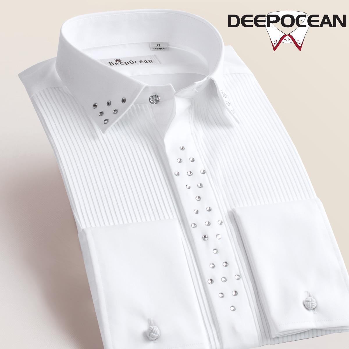 宴会法式衬衫男士长袖衬衣丝光纯棉修身韩版帅气新郎白色礼服结婚