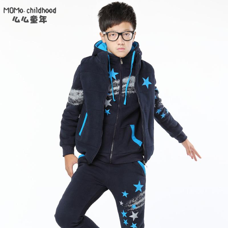 童装 男大童加厚冬款三件套 2014新款儿童时尚印花套装 140-170