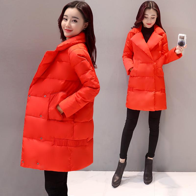 2016冬季新款韩版休闲时尚百搭大码女装中长款加厚棉服外套棉衣潮