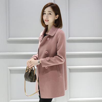 2016新款韩版双面羊绒大衣女呢子大衣毛呢外套修身显瘦中长款女装