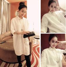 2016春秋新款女装衬衣韩版大码春装打底衫中长款宽松长袖白衬衫女
