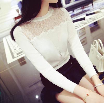 春天女装新款长袖T恤修身个性感上衣服潮韩国蕾丝镂空打底衫时尚