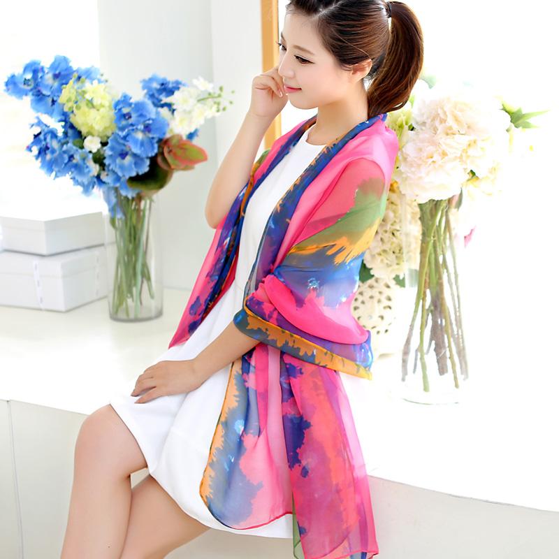 韩版高档围巾夏雪纺丝巾女空调披肩超大长款防晒百搭纱巾包邮