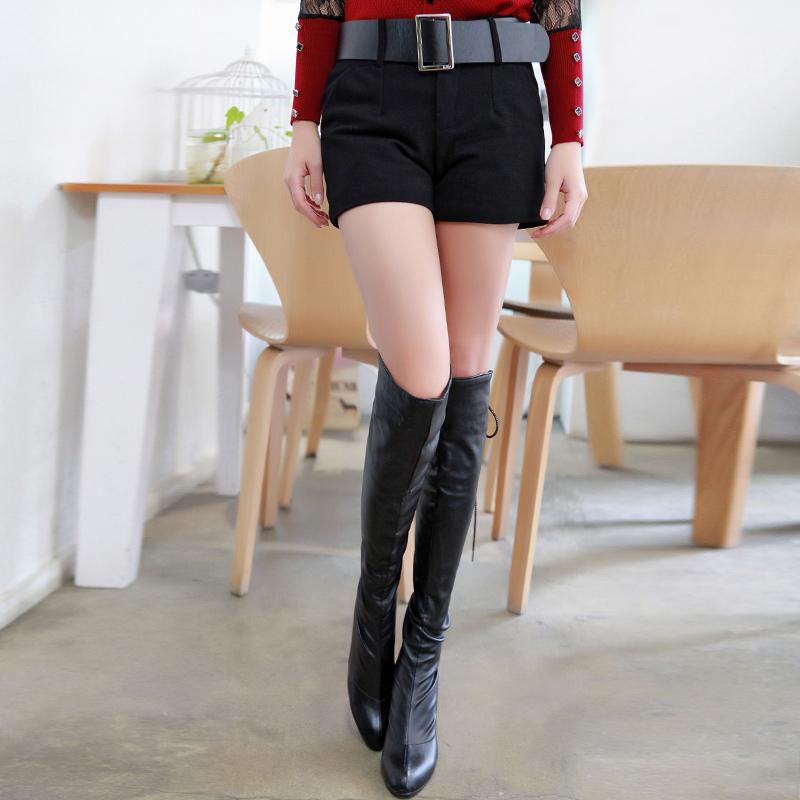 欧美款2014秋冬短裤毛呢显瘦显高带兜时尚小短裤