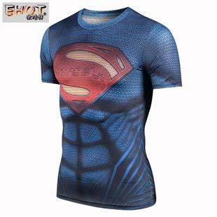 新款肌肉超人健身衣超级英雄紧身短袖钢铁之躯高弹速干衣运动T恤