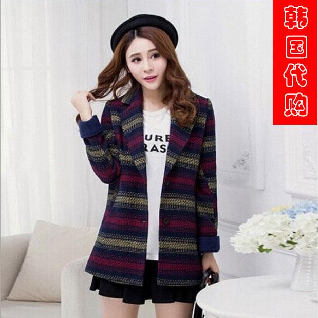 韩国代购2014冬新款卓雅艾薇小香风女装条纹羊毛呢外套中长款大衣