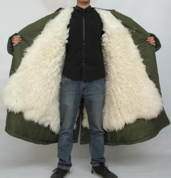 冬季保暖加厚纯羊皮皮毛一体军大衣男士真羊毛87式值夜班荒漠防寒