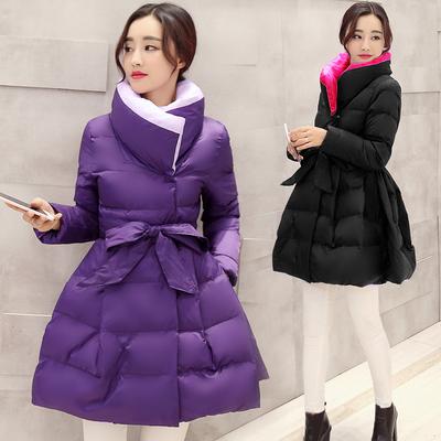 2015新款棉衣棉服韩版中长款保暖修身系带蝴蝶结高领裙式棉衣女冬