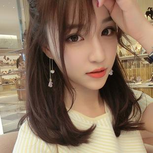 日韩国珍珠纯银耳坠优雅耳线长款花朵耳钉流苏吊坠气质简约耳环女