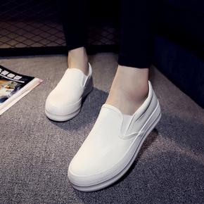 2015春夏白色帆布鞋女一脚蹬懒人鞋厚底乐福鞋学生布鞋休闲板鞋女