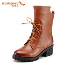 红蜻蜓女鞋 2015冬季新品真皮低跟系带马丁靴加绒短靴女靴子图片