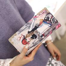 索爱女士钱包女长款 日韩版可爱人物印花拉链手拿包皮夹学生钱夹