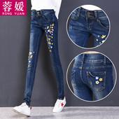 高腰加绒牛仔裤女长裤冬季新款加厚保暖韩版潮刺绣显瘦小脚铅笔裤