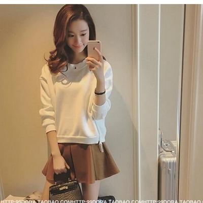 韩版女装秋冬矮个子娇小少女150cm显高小码S小号百搭加绒休闲卫衣