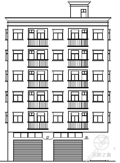 东莞市虎门镇某六层出租房CAD设计建筑施工图纸