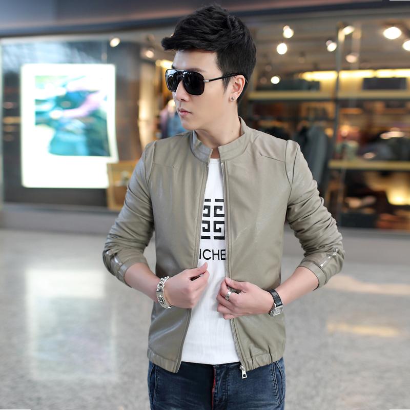 男装新款修身型仿皮皮衣男士外套休闲皮衣青年短款皮夹克立领