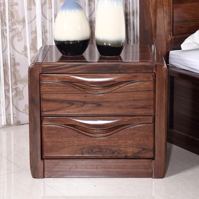 实木床头柜 金丝黑胡桃木床头柜