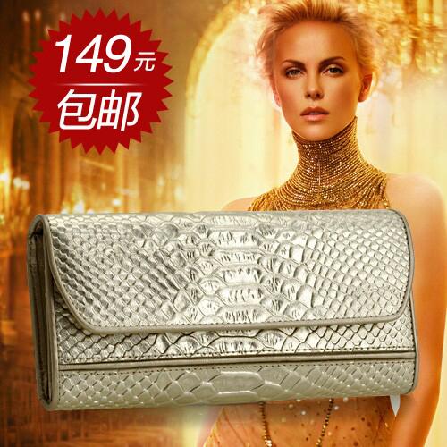 意卡希 2014新款女士钱包长款三折金色蛇皮纹钱夹女韩版牛皮卡套