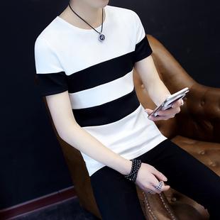 男夏装短袖t恤男圆领简约体血衫韩版修身条纹半袖青年休闲上衣服