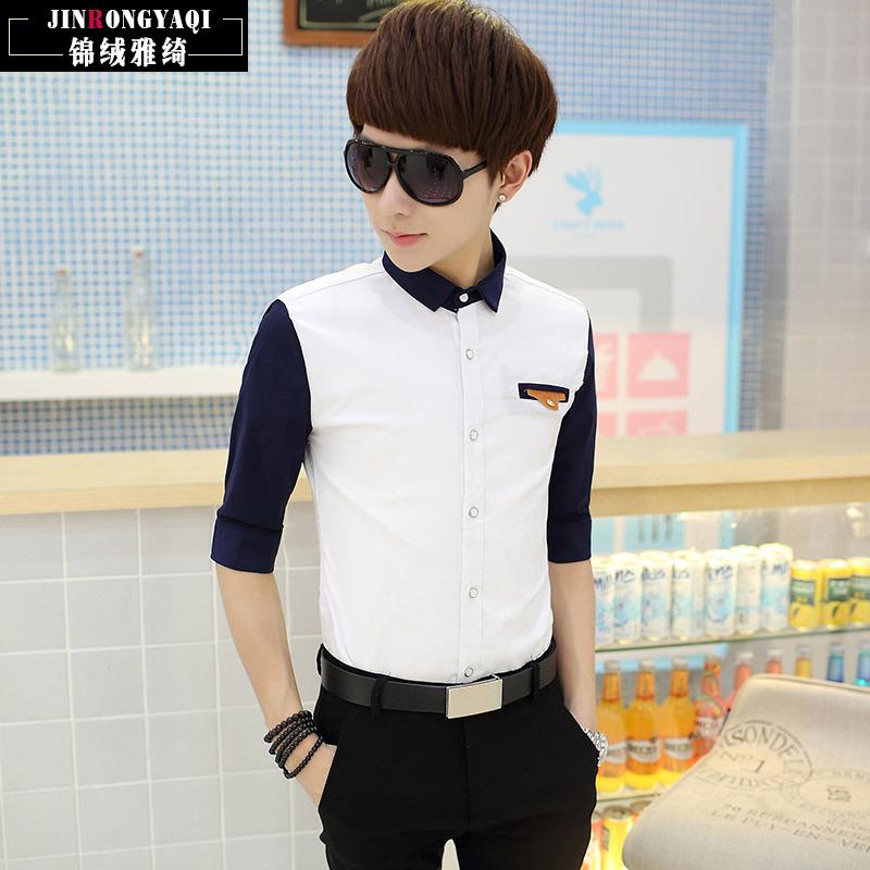 2015秋款男士修身白色衬衫男长袖夏季韩版青少年中袖休闲衬衫男