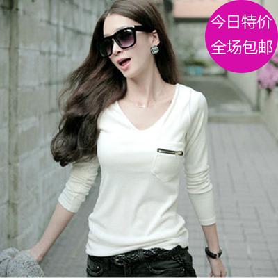 [一口价] 2015秋季韩版V领长袖打底衫女款修身白色t恤女士显瘦口袋体桖春