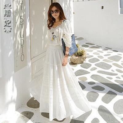 [女神特惠] 2015夏新款纯棉吊带连衣裙海边度假沙滩裙显瘦甜美两件套长裙 女