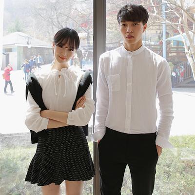 [新款限促销] 2016春装新款韩版情侣装纯白长袖衬衫韩国情侣衬衣休闲宽松开衫