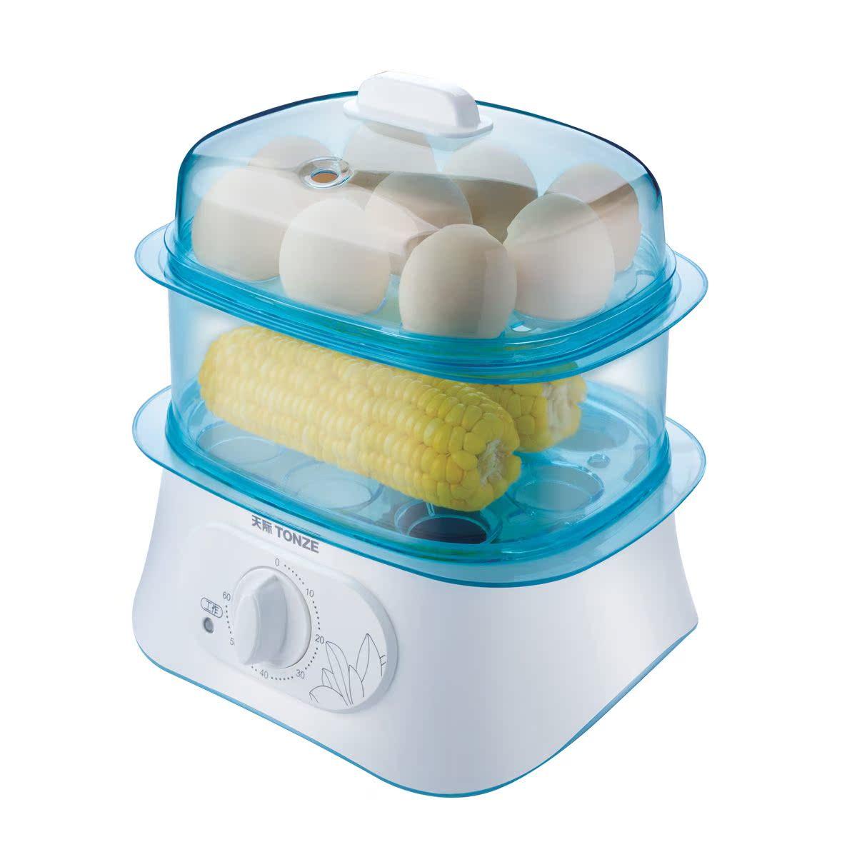 小家电厨房电器迷你电蒸笼 定时煮蛋双层电蒸锅蒸玉米馒头器蒸菜