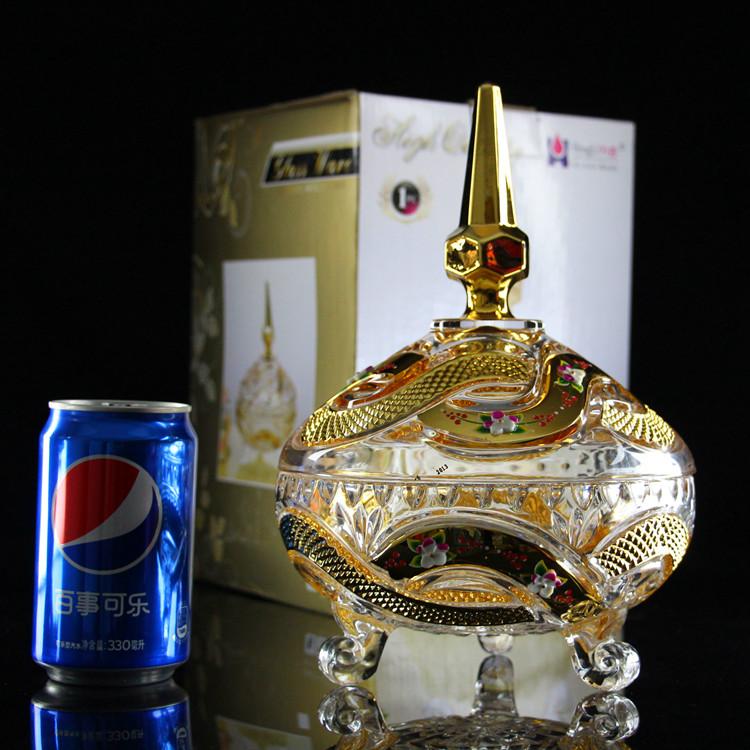 水晶玻璃糖果盅储物罐干果盒客厅家居装时尚饰品摆件茶几摆设包邮