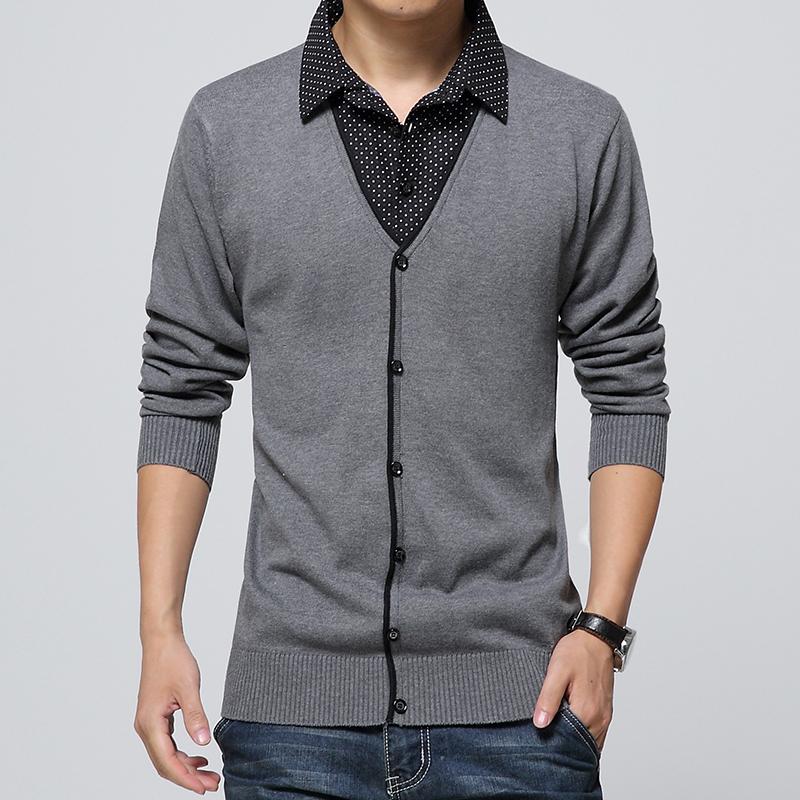 青少年假两件衬衫领毛衣 学生韩版潮流薄款针织衫 男士灰色羊毛衫