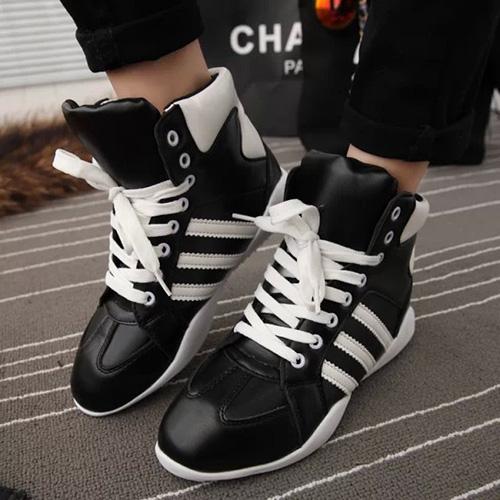 冬季高帮加厚防滑女鞋学生鞋运动鞋三条杠内增高拼色系带阿甘鞋