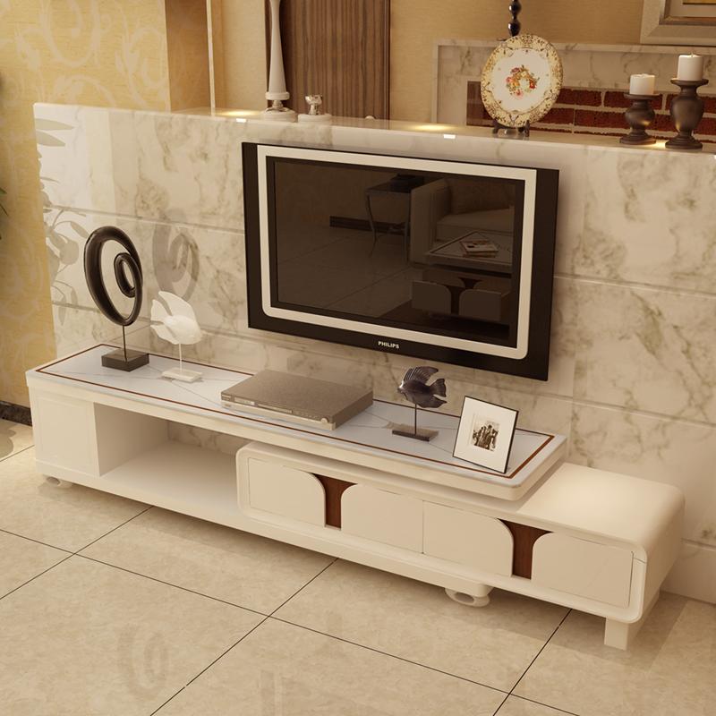 征程 钢化玻璃烤漆电视柜 可伸缩电视机柜 小户型地柜视