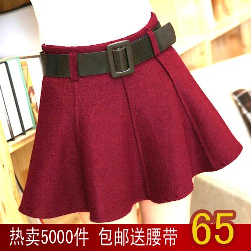秋冬新款女装毛呢半身裙酒红色显瘦裙裤蓬蓬裙A字裙百搭短裙女