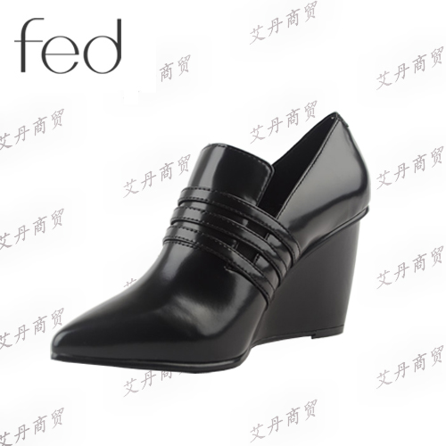 FED/艾芙伊迪 专柜正品 2014秋冬款 真皮尖头坡跟密鞋 1890346