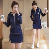 2017春季韩版甜美连帽牛仔包臀裙修身弹力显瘦条纹一步裙连衣裙女