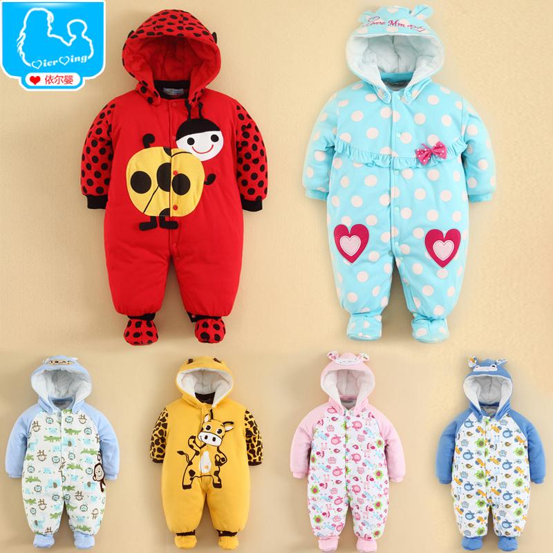 婴儿连体冬装宝宝造型哈衣加厚棉袄衣服新生儿爬服保暖婴儿连体衣