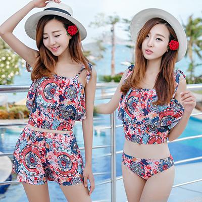 [淘寳最低价] 沙滩度假游泳休闲套装分体裙裤式三件套游泳衣女双肩带温泉泳装