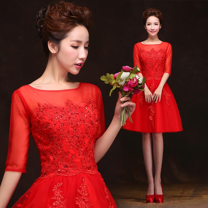 晚礼服短款2014秋冬季新款红色结婚小礼服敬酒服新娘长款订婚宴会